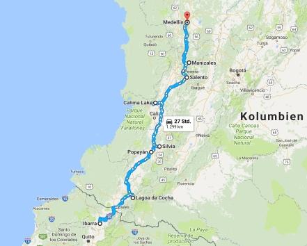 Karte Kolumbien Süd